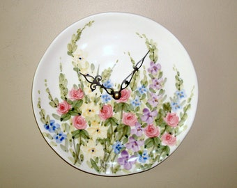 English Garden Wall Clock, 9 Inch Floral Wall Clock, Ceramic Plate Clock, Kitchen Clock, Unique Wall Clock, Dining Room Clock - 2378