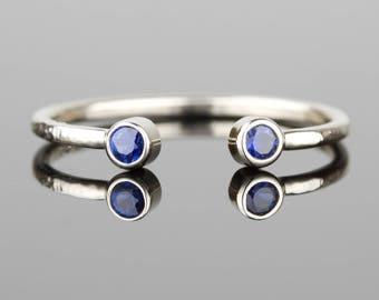 Natural Dual Sapphires Open Cuff Ring - Delicate Solid 14k Gold Dual Birthstones Ring - Two Sapphire Birthstone Open Cuff Ring - Toi et Moi