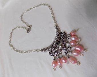 Antique Silver Bali Style Necklace with Freshwater Pink Pearls