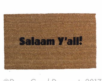 Salaam y'all™ -funny Muslim novelty welcome doormat wedding housewarming hostess gift