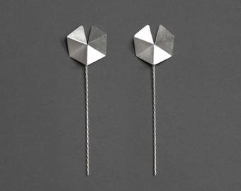 Front & Back Geometric Earrings, Silver Stud Earrings, Geometric Silver Earrings, Silver Minimalist Earrings, Geometric Drop Earrings