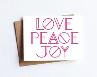 Love Peace Joy - HOLIDAY NOTECARD