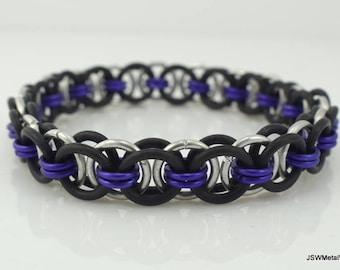 Men's Black and Purple Stretch Chainmail Bracelet, Women Black Stretch Chainmaille Bracelet, Unisex Jewelry, Purple Bracelet, Holiday Gift