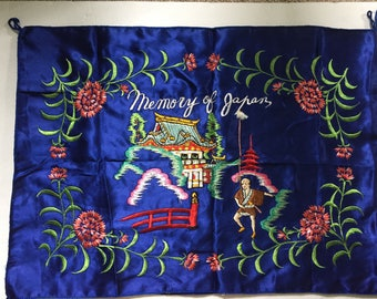 Vintage Forties souvenir pillow cover or lingerie case. Japan Memories.Multicolor embroidery on cobalt blue satin background.