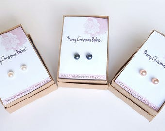 Jewelry Gift for her, under 20, pearl earrings, Pearl Studs,  personalized gifts, free shipping pearls, stocking stuffers for women