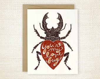 Love Card, Anniversary Card - Love Bug