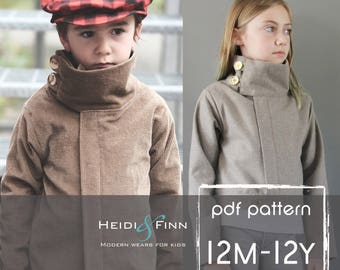 NEW Urban Weekender Jacket pattern and tutorial 12m - 12y unisex modern coat outerwear sewing holiday jacket PDF