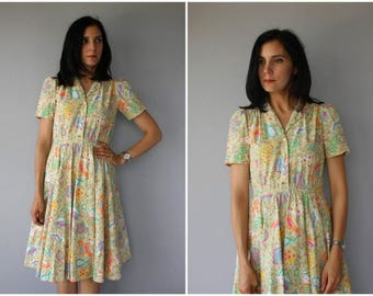 Vintage 80s does 50s Dress | 1980s does 1950s Dress | Vintage 1970s Day Dress | 70s Dress | 1970s Cotton Sundress