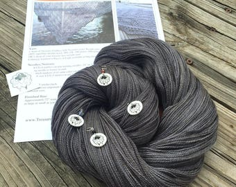 Ocean In the Moonlight Shawl KIT KAL Ghost Ship Silk Treasures Lace Yarn Pattern PDF Stitch Markers merino silk yarn charcoal gray grey
