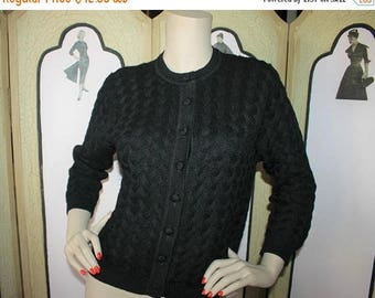 ON SALE Vintage 1960's Cardigan Sweater in Black Wool Decorative Knit. Medium to Large.