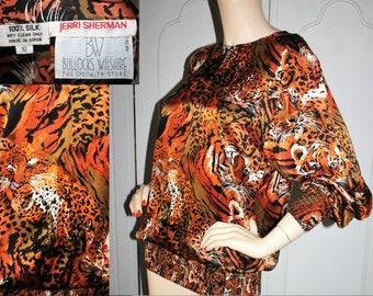 Vintage Designer Jerri Sherman Silk Tiger and Leopard Blouse. Medium.