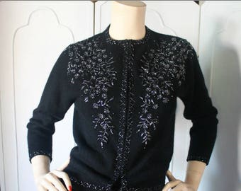 Vintage 1950's Beaded Cardigan Sweater in Black Cashmere with Hematite Look Beading by Hoover Co. Small to Medium.