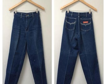 SUMMER SALE 70s Jeans, Straight Leg, Western Jeans, High Waisted Jeans, Tapered Leg, High Rise Tapered, Dark Denim Jeans, Vintage Jeans   XX