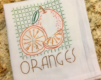 Hand Embroidered Kitchen Towel - Oranges