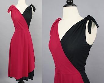 vintage 70s dress / 1970s dress / wrap dress / harlequin dress / tie shoulder dress / reversible dress / 70s dancing dress / disco dress