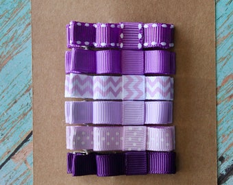 Pretty Purple Hair Clippie Set - Set of 6 No-Slip Hair Clippies