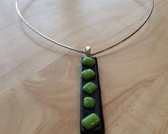 Fused Glass Pendant Necklace Black and Lime Green