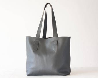 Grey leather tote bag, raw edge leather purse shopper bag shoulder womens large market bag unlined leather tote  - Calisto bag