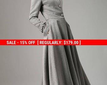 grey wool coat, long trench coat, button coat with ruffle details, swing coat, warm coat, winter jacket, handmade coat, gift  (731)
