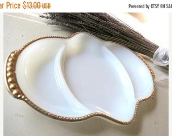 On SALE Vintage ANCHOR HOCKING FireKing White Milk Glass Oven Ware 3 Section Dish
