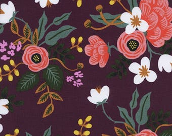 Cotton + Steel - Rifle Paper Co. - Menagerie - RAYON Birch Floral in Eggplant