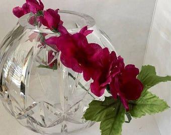 ON SALE Magenta Flower Crown, Fabric Flower Wreath, Hair Accessory, Flower Circlet, Wedding, Fairy Crown, Bridal Party, Fairy Costume