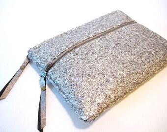 SAMPLE SALE Silver Sequin Clutch Double Zipper Clutch