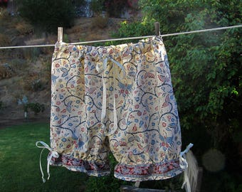 Ready now!  Women's Med/Lg Bohemian Ethnic Short Bloomers Cotton