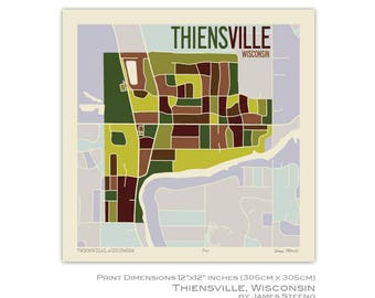 Thiensville, Wisconsin Art Map Print (Ozaukee County) by James Steeno