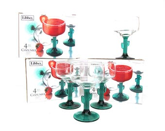 Vintage Cozumel Margarita Cocktail Stemware, Set of Four, Green Stems with Cactus Shapes