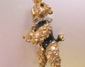 SHIPS 6/26 w/FREE Jewelry Vintage PANETTA Ornate Gold Tone Pave Rhinestone Dancing Poodle Dog Brooch Pin Pendant Moving