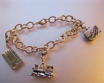 XMAS in JULY SALE Vintage Charm Bracelet 3 Charms Jewelry Jewellery