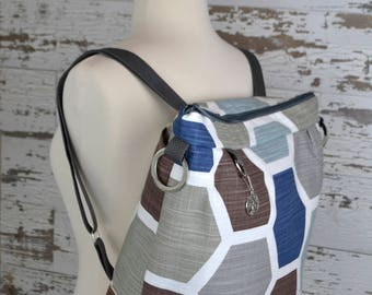 Backpack or crossbody bag, a Darby Mack original & made in the USA! Navy and grey