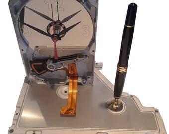 CYBER WEEK SALE! Rare Pen Holder Hard Drive Clock, Etched Numbers. Office Gift Clock, Teacher Gift Clock, Geek Gift, Business Award Clock!