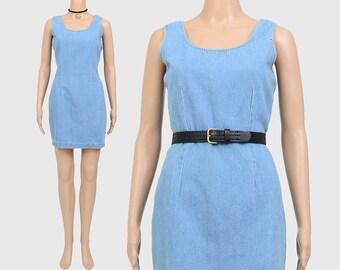 Vintage 90s Denim Mini Dress | Minimalist Light Wash Grunge Blue Jean Dress | Sleeveless Hipster Minidress | Fitted Mini Dress | size S M