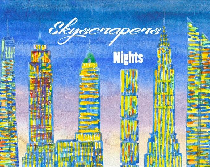 Skyscrapers.New York, Clip Art, Watercolor Clipart, New York City, building, New York, America, USA, Manhattan, Watercolor Clip art