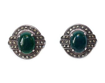 Sterling Deco-Design Chrysoprase Earrings, Art Deco Earrings, Sterling Earrings, Sterling Jewelry, Vintage Earrings, Gifts for Her
