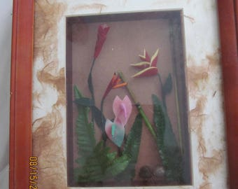 Hawaiian Vintage Shadow Box with Island Flowers from Marianne of Maui