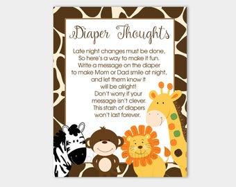 Diaper Thoughts Game | Giraffe Print Jungle Safari Animals  | Late Night Diapers Boy Baby Shower Game INSTANT DOWNLOAD bs-128