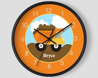 Construction Dumptruck Orange and Yellow Boys Room 10-inch Nursery Clock, Choose frame color