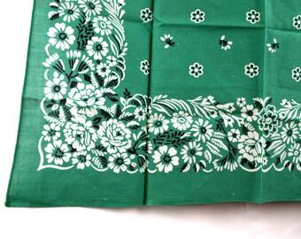 Vintage Green Floral Bandana - #D1