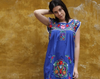 Cobalt blue and multi colored embroidery Puebla Dress