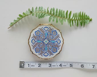 Vintage Stratton Enamel Compact Blue and White Floral Pattern