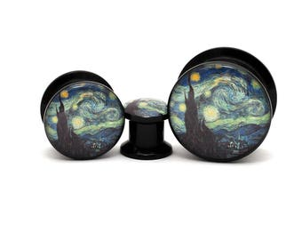 Black Acrylic Starry Night Picture Plugs gauges - 8g, 6g, 4g, 2g, 0g, 00g, 7/16, 1/2, 9/16, 5/8, 3/4, 7/8, 1 inch