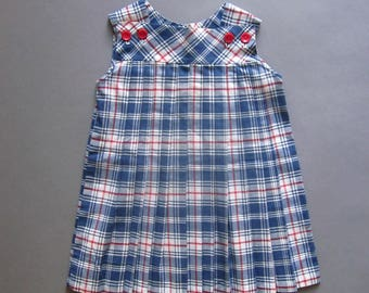 Girls Vintage Plaid Pleated Dress Red White and Blue Summer Dress Handmade July 4th