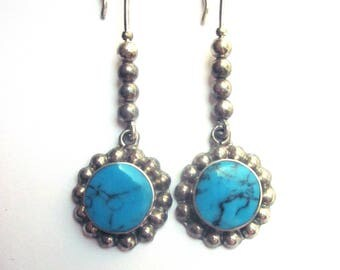 Vintage Sterling Silver Turquoise Dangle Earrings Sterling Jewelry
