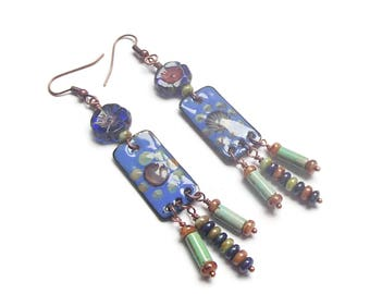 Enamel Drop Earrings Enamel and Czech Glass Earrings Czech Glass Flowers Boho