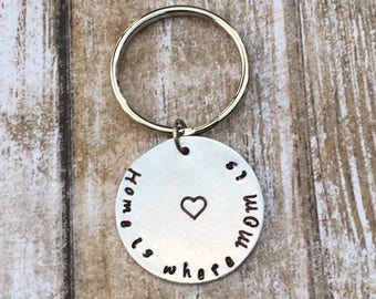 Mom Grandma Hand Stamped Personalized Silver Keychain