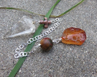 Clear Quartz Crystal Pendulum, Carnelian and Picasso Japser Beads, Sterling Chain, Bronze Glass Cross