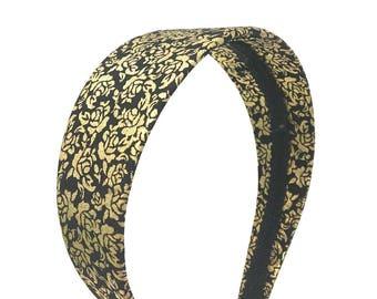 Black and Gold Headband - Preppy - Gold floral print headband - Choose width from Skinny to Wide - Girls Headbands, Adult Headbands